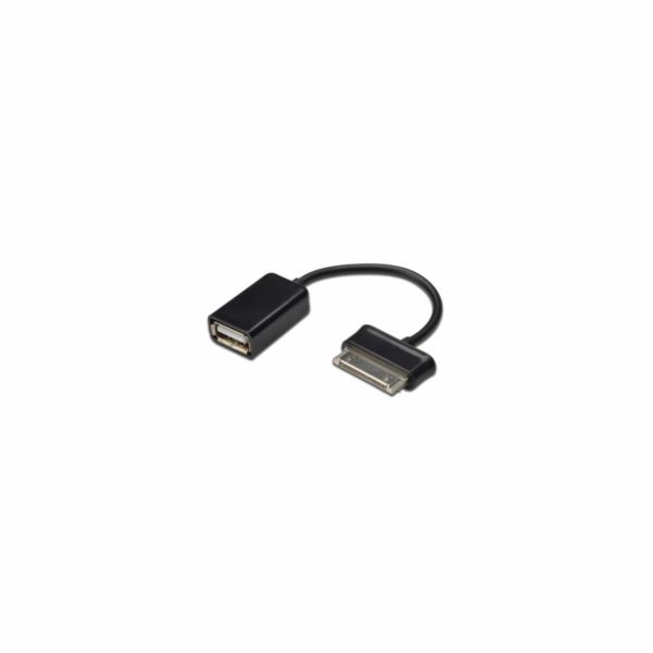 Ednet Samsung OTG adapter cable, Samsung 30pin - USB A, M/F, 0.15m, , USB 2.0 compatible, UL, bl