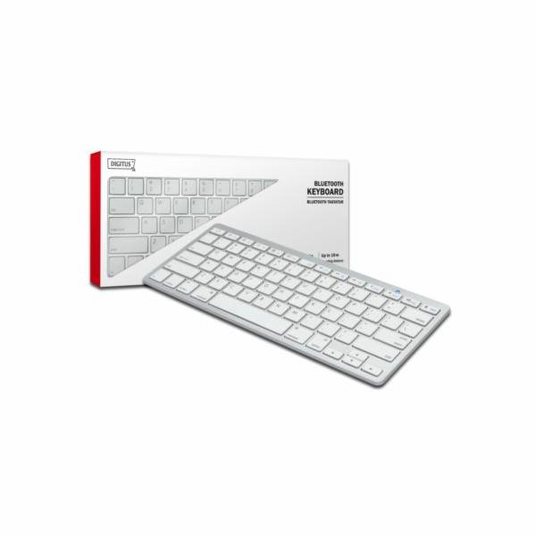 Digitus Bluetooth klávesnice pro smartphone, tablety, pc a apple zařízení (QWERTZ), Bílá