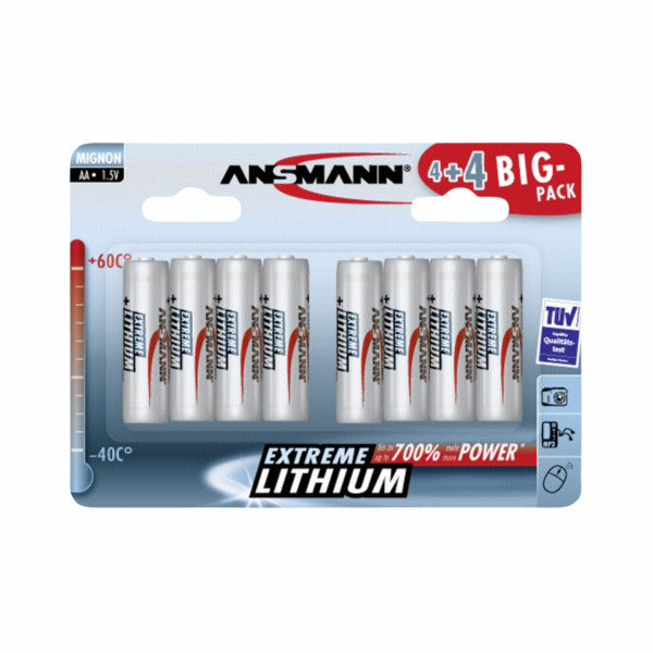 Baterie Ansmann Extreme Lithium AA Mignon 4+4 Big Pack