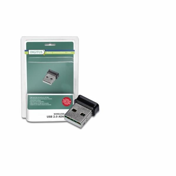 DIGITUS Bezdrátový Micro 150N USB 2.0 adaptér, 150Mbps, Blister