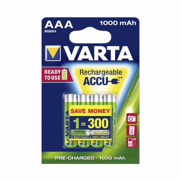 1x4 Varta Rechargeable Aku AAA NiMH 1000 mAh Micro
