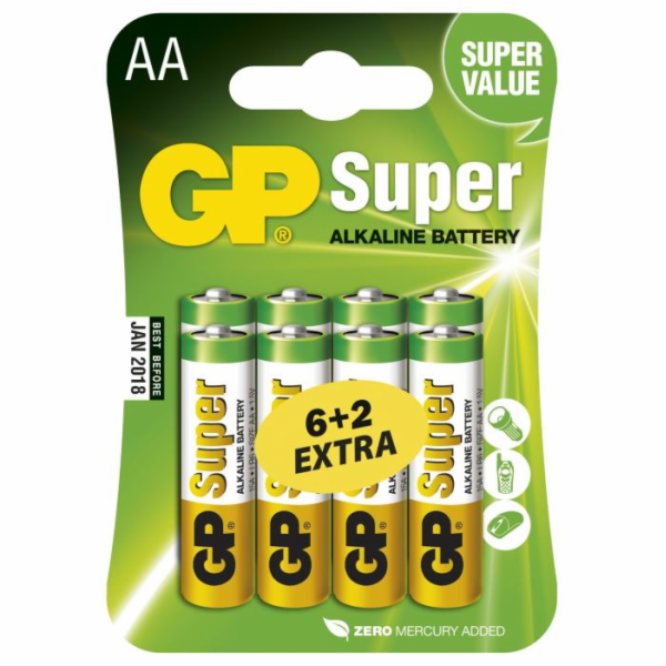 GP AA Super alkalická - 8 ks (6 + 2)