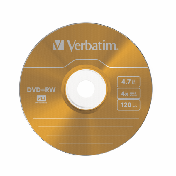 1x5 Verbatim DVD+RW 4,7GB 4x Speed Colour Surface Slimcase