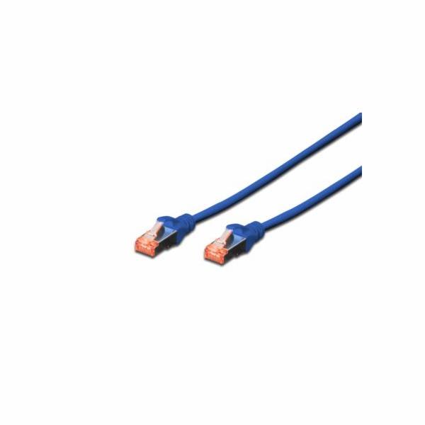 Digitus CAT 6 S-FTP patch kabel, LSOH, Cu, AWG 27/7, délka 0,25 m, barva modrá