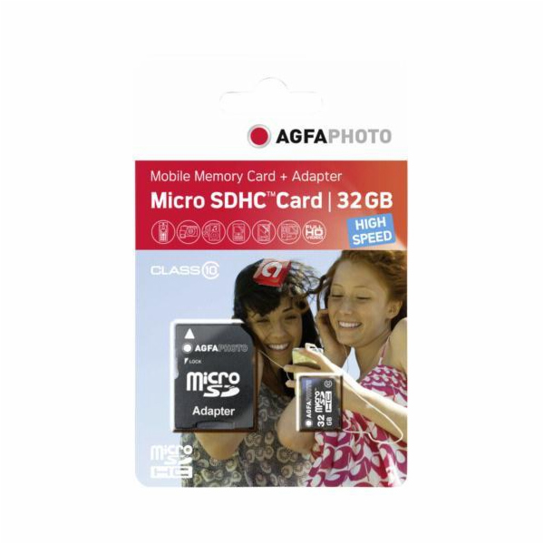 Paměťová karta AgfaPhoto Mobile High Speed 32GB MicroSDHC Class 10 + Adapter