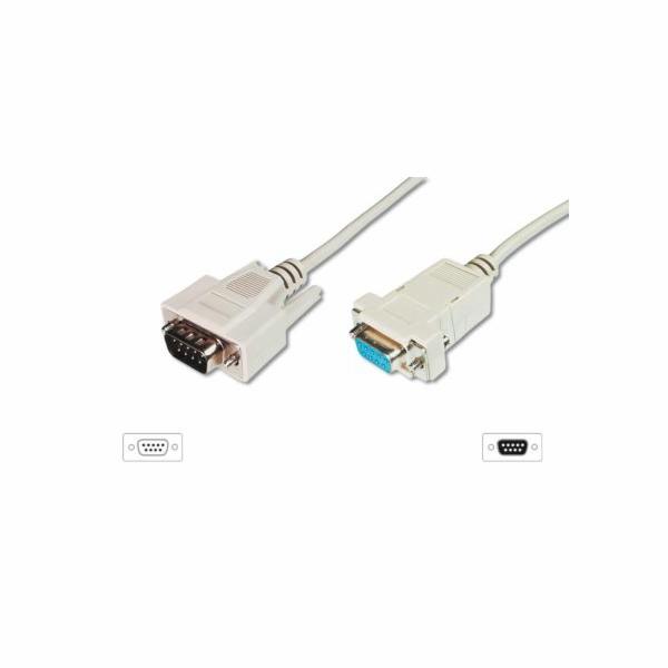 Digitus sériový kabel prodlužovací DB9 M/F 2m,rozebíratelný, šedý