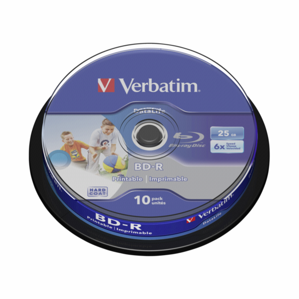 10ks Verbatim BD-R Blu-Ray 25GB 6x Speed DL Wide Printable CB