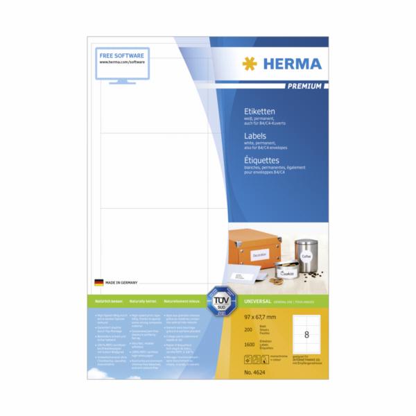 Herma Premium Labels 96,5x67,7 200 Sheets DIN A4 1600 pcs. 4624