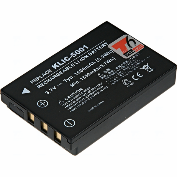 Baterie T6 power Kodak KLIC-5001, 1600mAh, černá