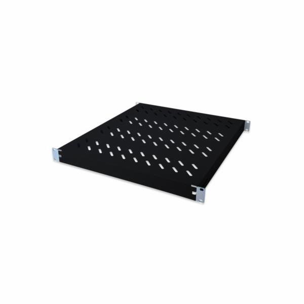 Digitus 1U pevná police, pro 600 mm hloubku skříně, nastavitelný, 350 hloubka mm, barva černá (RAL 9005)