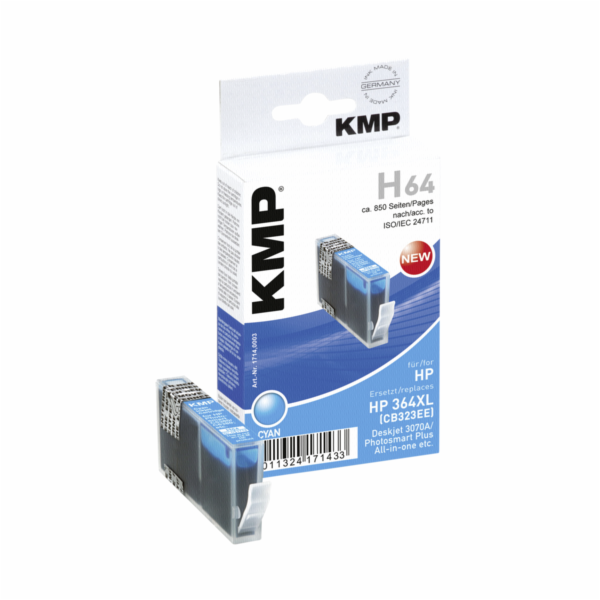 KMP H64 cartridge modra komp. m. HP CB 323 EE No. 364 XL