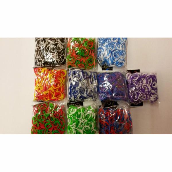 Gumičky na náramky z gumiček Loom bands 3 000 ks dvoubarevné