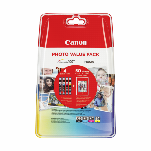Canon CLI-526 Photo Value Pack C/M/Y/BK PP-201 10x15 cm 50 Sh.