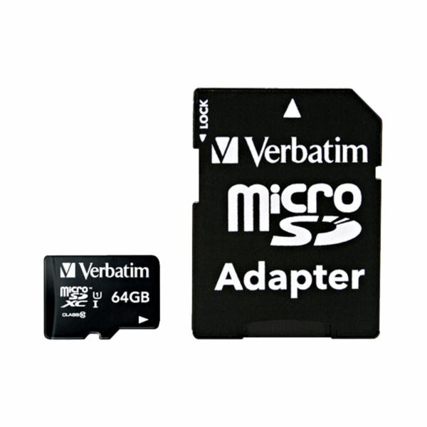 Verbatim microSDXC 64GB Class 10 UHS-I incl Adapter