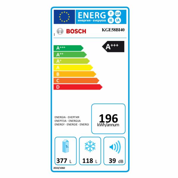 Kombinovaná chladnička Bosch KGE58BI40, nerez