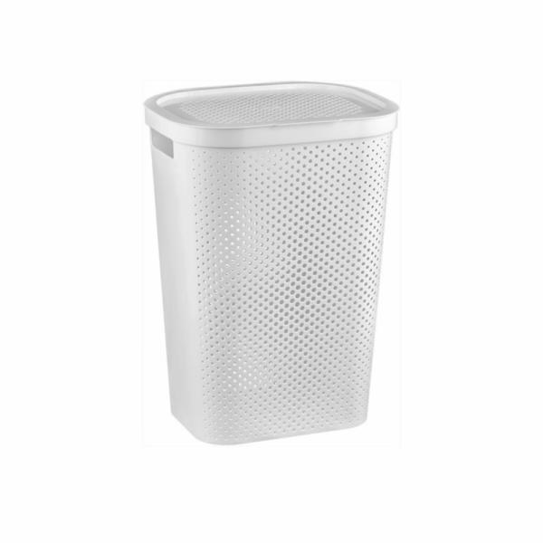 koš 59l na použité prádlo,bílý INFINITY