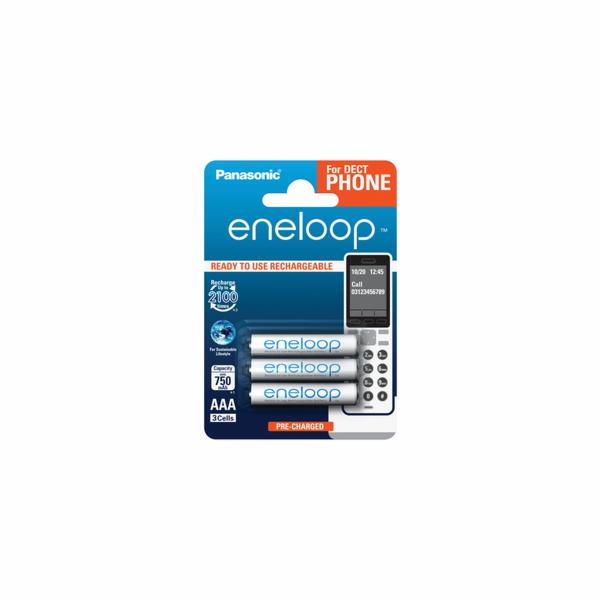 1x3 Panasonic Eneloop Micro AAA 750 mAh DECT BK-4MCCE/3DE