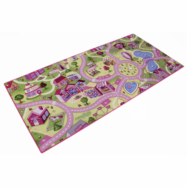 Hrací koberec Sweet town růžový