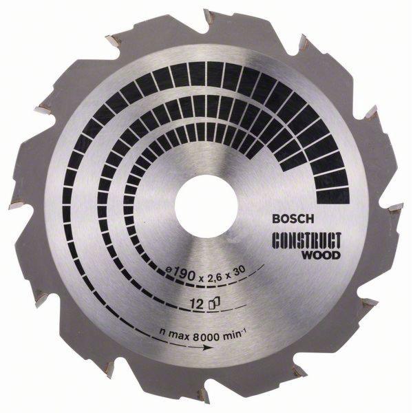 Pilový kotouč Construct Wood - 190 x 30 x 2,6 mm, 12 - 3165140194266 BOSCH