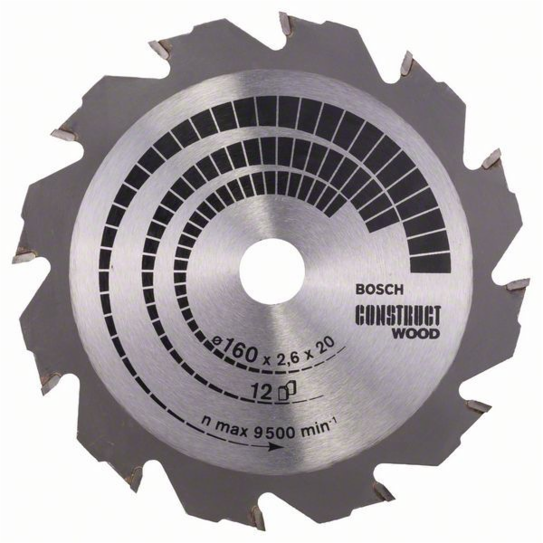 Pilový kotouč Construct Wood - 160 x 20/16 x 2,6 mm, 12 - 3165140194235 BOSCH