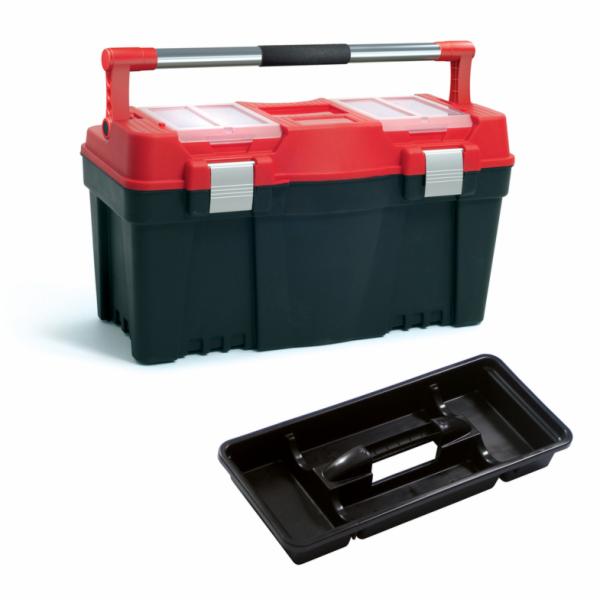 """Plastový box na nářadí 23,5"""", nosnost 25 kg, PRACTIC, 2 organizéry na víku SIXTOL"""