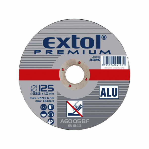 Kotouč řezný na hliník, 115x1,0x22,2mm, EXTOL PREMIUM