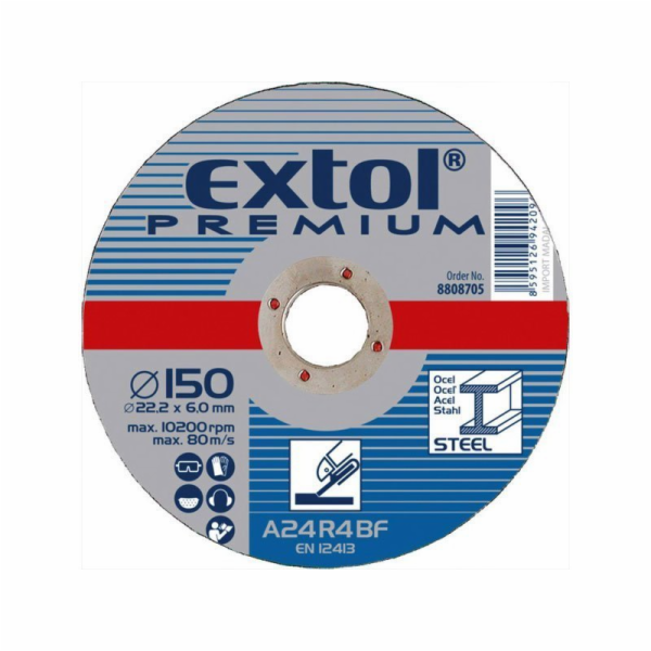 Kotouč brusný na ocel, 230x6,0x22,2mm, EXTOL PREMIUM
