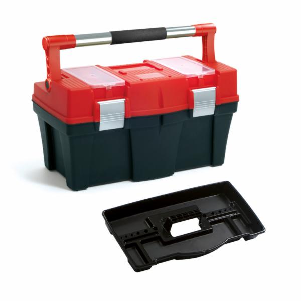"""Plastový box na nářadí 18"""", nosnost 13 kg, PRACTIC, 2 organizéry na víku SIXTOL"""