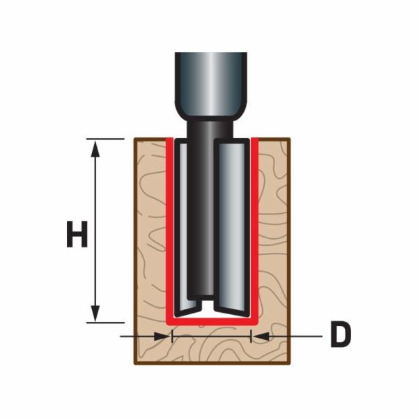 Fréza drážkovací do dřeva, D19xH25, stopka 8mm, EXTOL PREMIUM