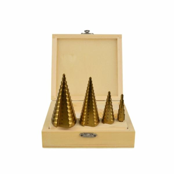 Vrtáky stupňovté, sada 4ks, 4-12mm, 4-20mm, 4-32mm, 4-39mm, dřevěná kazeta, TiN GEKO