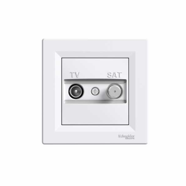 Asfora - zásuvka TV-SAT, průběžná - 4 dB - bílá