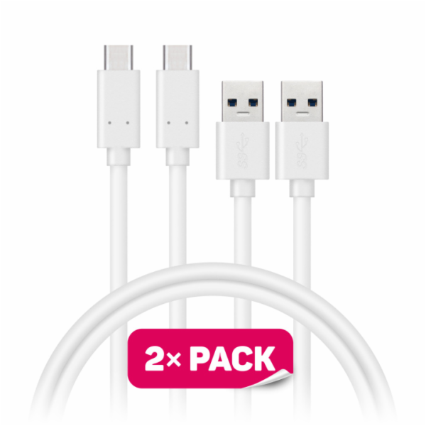 CONNECT IT Wirez USB-C (Type C) - USB, bílý, 1 m (2 ks v balení)