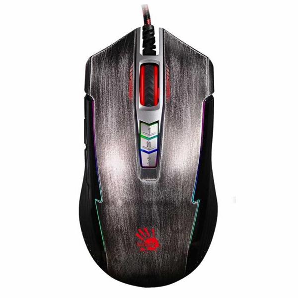 A4tech BLOODY P93, herní myš, ANIMATION GAMING, 5000DPI, USB, stříbrná, nastavitelné RGB podsvícení
