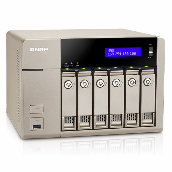 QNAP TVS-663 Turbo NAS server, AMD 2,4GHz QC/4GB/6x HDD/2xGL/PCIe/HDMI/R0,1,5,6/iSCSI