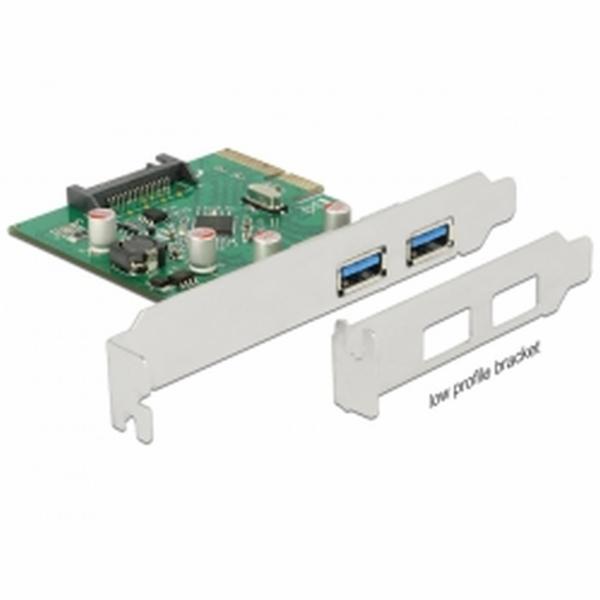 Delock PCI Express x4 Karta > 2 x externí USB 3.1 Gen 2 Typ-A samice