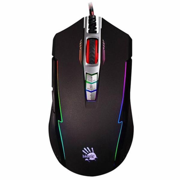 A4tech BLOODY P93, herní myš, ANIMATION GAMING, 5000DPI, USB, černá, nastavitelné RGB podsvícení
