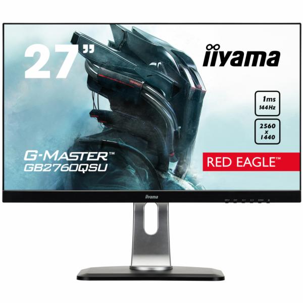 """27"""" LCD iiyama G-Master GB2760QSU-B1 - WQHD,144Hz,FreeSync,1ms,350cd/m2,1000:1,DVI,DP,HDMI,USB,repro"""