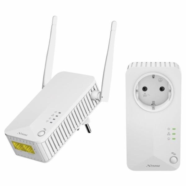 STRONG sada 2 adaptérů Powerline WF 500 DUO EU/ Powerline 500 Mbit/s/ Wi-Fi 300 Mbit/s/ 2x LAN/ bílý