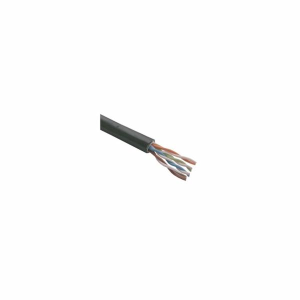 UTP kabel Elite, Cat5E drát, venkovní PE+PVC, dvojitý plášť, 305m cívka, černý