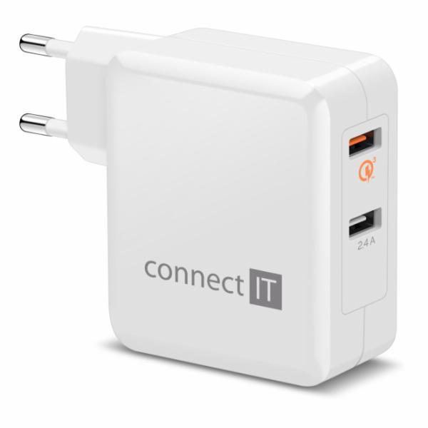 CONNECT IT QUICK CHARGE 3.0 nabíjecí adaptér 2x USB (3,4A), QC 3.0, bílý
