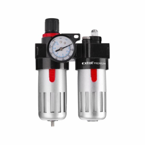 Regulátor tlaku s filtrem a manometrem a přim. oleje, max. prac. tlak 8bar, EXTOL PREMIUM