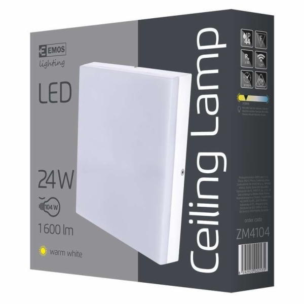 Emos přisazené LED svítidlo, čtverec 24W/100W, WW teplá bílá, IP44