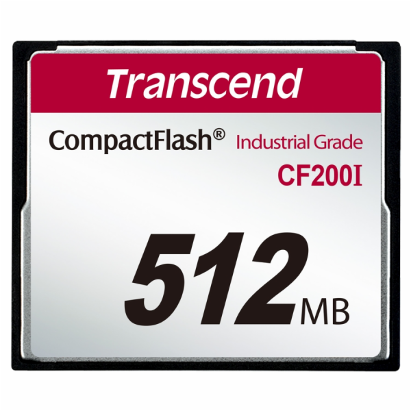 Transcend 512MB INDUSTRIAL TEMP CF200I CF CARD, paměťová karta (SLC)