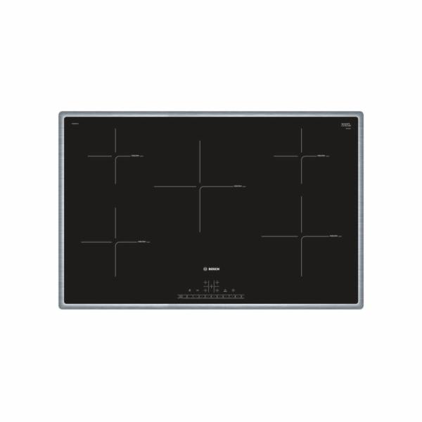 Bosch PIV845FB1E Samostatná indukční varná deska, keramické sklo, šířka 80 cm, nerezový rám, časovač s vypínací funkcí
