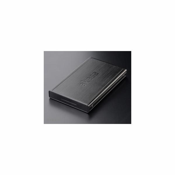 """AKASA HDD box Noir S, 1x 2,5"""" SATA HDD/SSD, USB 3.0, broušený hliník, černá"""