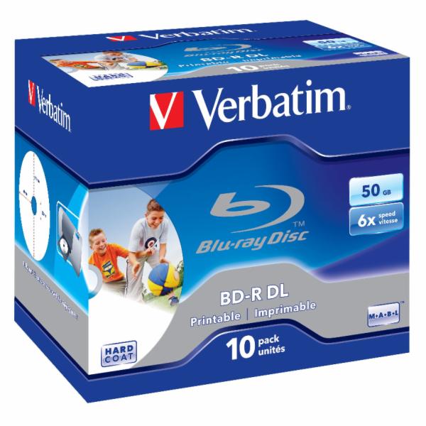 1x10 Verbatim BD-R Blu-Ray 50GB 6x Speed printable Jewel Case