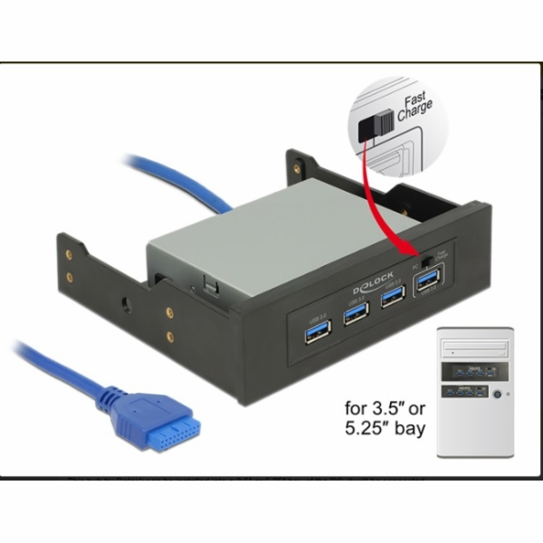 "Delock 3.5"" / 5.25"" USB 3.0 Hub 4 Port"