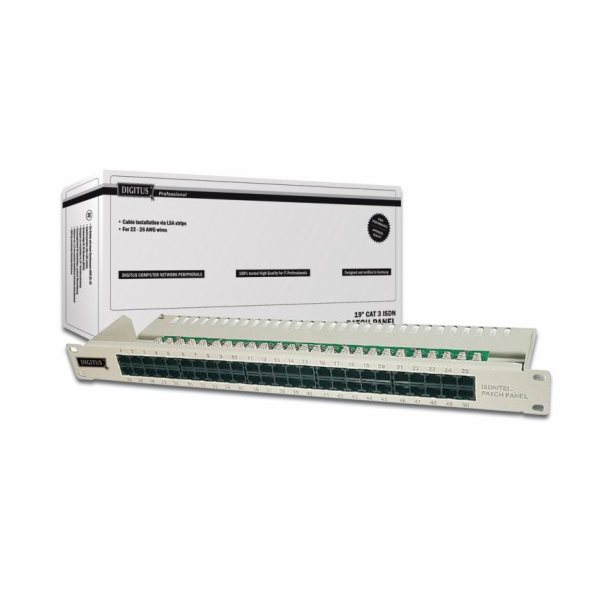 "Digitus Patch Panel, ISDN, 50 Port, 19"", 1U, LSA šedý"