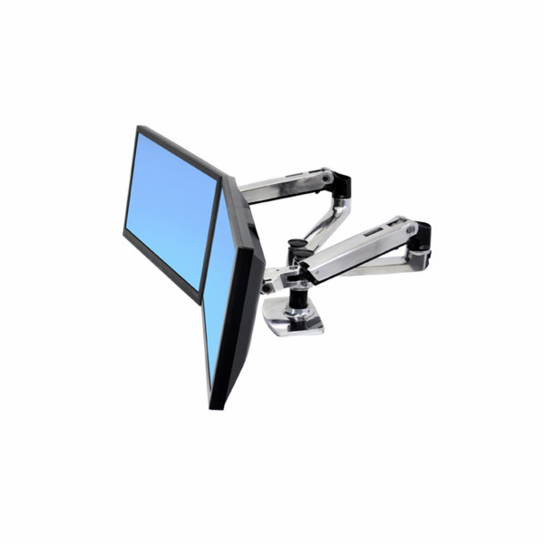 ERGOTRONLX SIDE BY SIDE DUAL ARM, Polished Aluminum, stojan stolní pro 2LCD max 24""