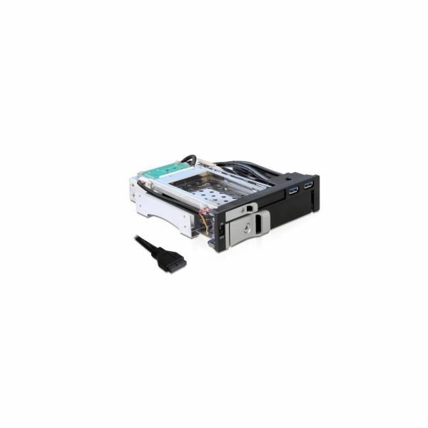 Delock 5.25 výměnný rámeček pro 1x 2.5 + 1x 3.5 SATA HDD + 2 x USB 3.0 porty